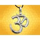 Gros Pendentif Argenté OM ou AUM Symbole Hindou Méditation Clé Vibratoire