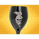 Verre à Vin Dragon sur Crâne et Fleur Calice Gothique Flûte Champagne Noire