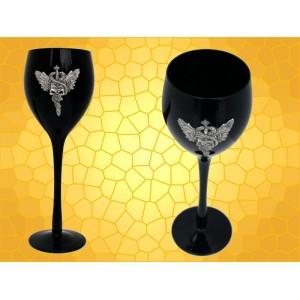Verre à Vin Épée Crâne Serpents Ailes Calice Gothique Flûte Champagne Noire