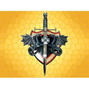 Poignard Dragon Gris Support Dragons Arme Décoration Gothique