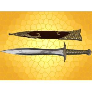 Seigneur des Anneaux Célèbre Épée Dard de Frodon ou de Bilbo le Hobbit avec Fourreau Marron