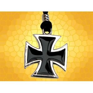 Pendentif Croix Teutonique Pattée Chromée émaillée noire Chevaliers Teutons