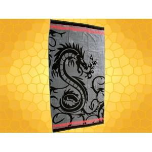 Serviette Dragons Drap de Bain Dragon Stylisé Noir sur fond Gris