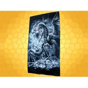 Serviette de Plage Dragons Drap de Bain Dragon Noir aux Yeux Rouges