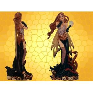 Figurine Fée Magicienne Rousse et Petit Dragon Dragonnet Rouge