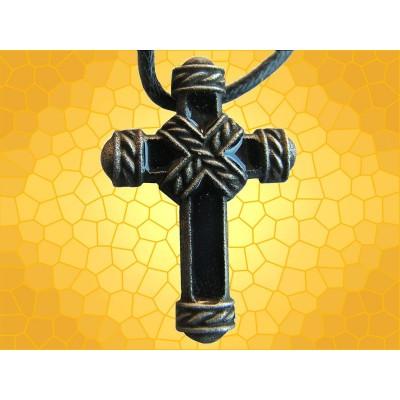 Pendentif Émaillé Bijou Croix Ligaturée Émaillée Noire Médiévale Moyen Age