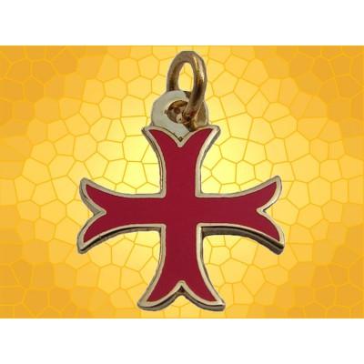 Pendentif Croix Templier Pattée Rentrée Émaillée Rouge Bijou Chevalier Médiéval