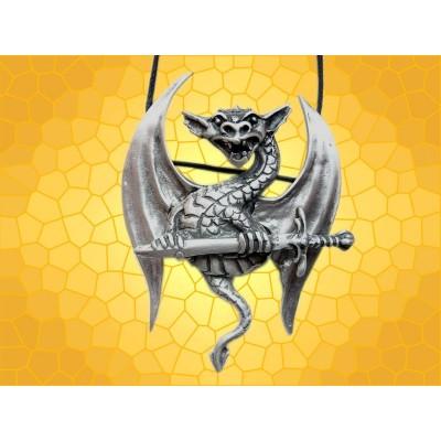 Pendentif Dragons Épée et Dragon Ailes Articulées Bijou Fantasy Gothique
