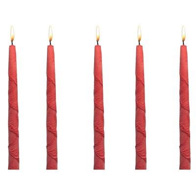 5 Bougies Couleur Rouge Gothiques Fantasy avec Stries