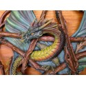 Pentagramme Dragon Vert Plaque Murale en Couleurs Fantasy Dragons Mythiques