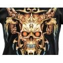 T Shirt Crâne Tribal et Pointes Barbaresques aux Yeux Rouges Tee Shirts Gothiques