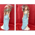 Statuette Femme Sexy  en Robe Bleue et Dragon Rouge et Vert Figurine Fantasy