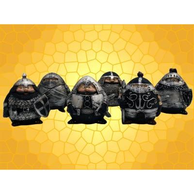 Lot de 6 Booble Heads Figurines Chevaliers Marrants en Armure Soldats Moyen Age