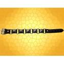 Bracelet Cuir Acier Noir Cinq Croix Pattées Bijou Médiéval Bracelets Style Moyen Age