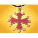 Pendentif Occitan Croix Occitane Couleur Or et Rouge Symbole Médiéval