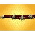 Bracelet Cuir Rouge Araignée Brillant Bijoux Gothique Fantasy Spider