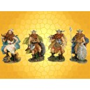 Lot de Quatre Figurines Guerrier Viking Guerriers Nordiques Combattants Barbares