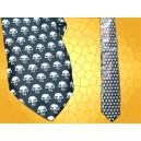 Cravate Petits Crânes Cravates Soie Gothiques Crâne Macabre Blanc fond Noir