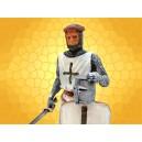 Figurine Guerrier Chevalier Templier Heaume sur Bouclier Guerrier Croisades Médiéval