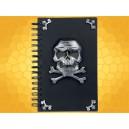 Carnet à Spirales Crâne et Tibias Pirate Noir et Gris Cahier Journal Gothique