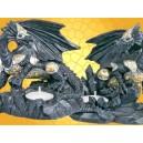 Lot 2 Bougeoirs Dragons Guerriers en Armure Fantasy Gothique Dragon