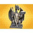 Bougeoir Dragon Guerrier en Armure Ouvre Lettres avec Épée Acier Fantasy Gothique