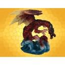 Statuette Petit Dragon Rouge Pailleté sur Vagues Dragons Couleur