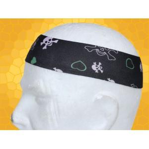 Bandana Gothique Bandeau à Cheveux Cœurs Verts Crânes Blancs