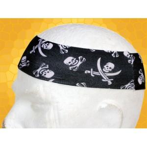 Bandana Gothique Bandeau à Cheveux Crânes Pirates Blancs