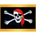 Drapeau Pirate Noir et Blanc Crâne Bandana Rouge et Tibias Drapeaux Pirates