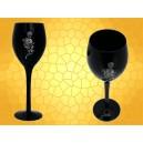 Verre à Vin Crâne et Fleur Parchemin Calice Gothique Flûte Champagne Noire
