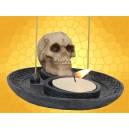 Double Brûle Encens et Bougeoir Crâne Gothique Squelette