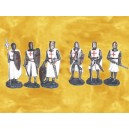 Lot de 6 Série Six Figurines Chevaliers Templiers en Armure