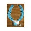 Collier Perles Multi-rangs Bleu Turquoise Pendentif Tribal